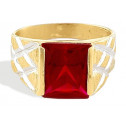 14k Yellow White Gold Mexican Fire Ruby CZ Men's Ring
