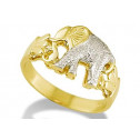 New 14k White Yellow Gold Elephant Animal Women's Ring