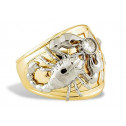 14k Yellow White Gold Scorpion Eagle CZ Mens Band Ring