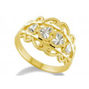 14k Yellow White Gold Victorian Diamond Cut Heart Ring