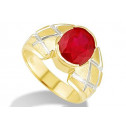 New Mens Solid 14k White Yellow Gold Red CZ Band Ring