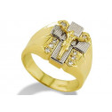 14k Solid Yellow White Gold Jesus Crucifix CZ Mens Ring