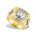 14k Solid Yellow White Gold Men's Cross Round CZ Ring