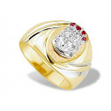 14k Yellow White Gold Red CZ Mens Grooved Fashion Ring