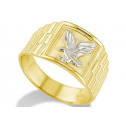 New Solid 14k Yellow White Gold Bald Eagle Mens Ring