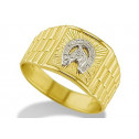 14k Yellow White Gold Horse Horseshoe Mens Band Ring