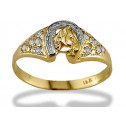 Women's 14k Yellow White Gold CZ Horseshoe Horse Ring