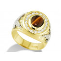 Mens Tiger's Eye CZ 14k Yellow White Gold Eagle Ring