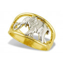 New 14k Yellow White Gold Cut Out Elephant Women's Ring