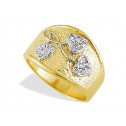 Women's Heart CZ Solid 14k Yellow White Gold Band Ring