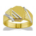 Solid 14k Yellow White Gold Nugget Men's Fashion Ring