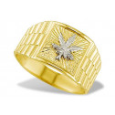New 14k Yellow White Gold Mens Marijuana Leaf Band Ring