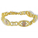 14k White Rose Solid Gold Virgin Mary CZ Links Bracelet