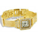 Ladies Gold Tone Stainless Steel CZ Bracelet Link Watch