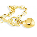 14k Solid Gold Puffy Heart Rolo Chain Links Bracelet