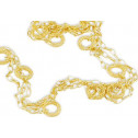14k Yellow Gold Long Round Mesh Three Strand Necklace