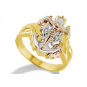 14k Yellow White Rose Gold CZ Jesus Mariner Cross Ring