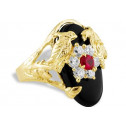New 14k Yellow Gold CZ Love Birds Dove Black Onyx Ring