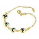 Kids 14k Yellow Gold Lucky Evil Eye Figaro Bracelet