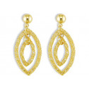 14k Yellow Gold Marquise Shaped Stud Dangle Earrings