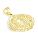 Solid 14k Yellow Gold Religious Virgin Mary Pendant