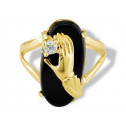 New Women's 14k Yellow Gold Black Onyx CZ Claddagh Ring