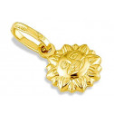 14k Yellow Gold Italian Puffy Sun Sunshine Pendant