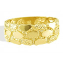 New Mens Solid 14k Yellow Gold Nugget Stone Band Ring