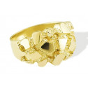 New Solid 14k Yellow Gold Mens Nugget Fashion Band Ring
