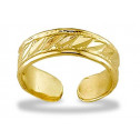 14k Yellow Gold Solid Polished Cut Leaf Band Toe Ring
