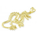 Solid 14k Yellow Gold Polished Dragon Puffy Pendant