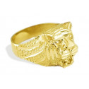 New Solid 14k Yellow Gold Lion Head Mens Band Ring
