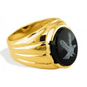 New 14k Yellow Gold Men's Oval Black Onyx Eagle Ring
