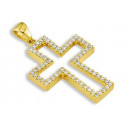14k Yellow Gold 0.22 Ct Round Diamond Cross Pendant