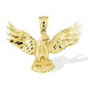 14k Solid Yellow Gold Flying Bald Eagle Wings Pendant
