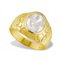 14k Solid Yellow Gold Oval CZ Men's Nugget Band Ring