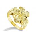 New Women's 14k Solid Yellow Gold Plumeria Flower Ring