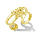 14k Yellow Gold Open Band Solid Butterfly Toe Ring