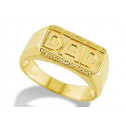 14k Solid Yellow Gold Father DAD Nugget Mens Band Ring