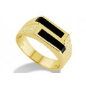 14k Solid Yellow Gold Mens Double Black Onyx Band Ring