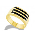 14k Solid Yellow Gold Mens 10mm Triple Onyx Inlay Ring