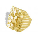 New 14k Solid Yellow Gold Mens Wide Nugget Band Ring