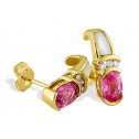 14k Yellow Gold 1.10 Ct Diamond Pink Sapphire Earrings