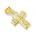 14k Yellow Gold Small CZ Jesus Crucifix Cross Pendant
