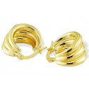 Solid 14k Yellow Gold Triple Wide Puffy Hoop Earrings
