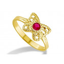 New 14k Yellow Gold Child Kids Butterfly Red CZ Ring