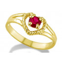 14k Yellow Gold Baby Childs Heart Red CZ Fashion Ring
