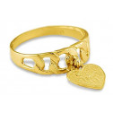 14k Yellow Gold Dangle Heart I Love You Fashion Ring