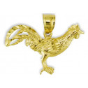 Solid 14k Yellow Gold Diamond Cut Rooster Charm Pendant
