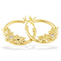 14k Yellow Gold Doves Birds Flower CZ Hoop Earrings
